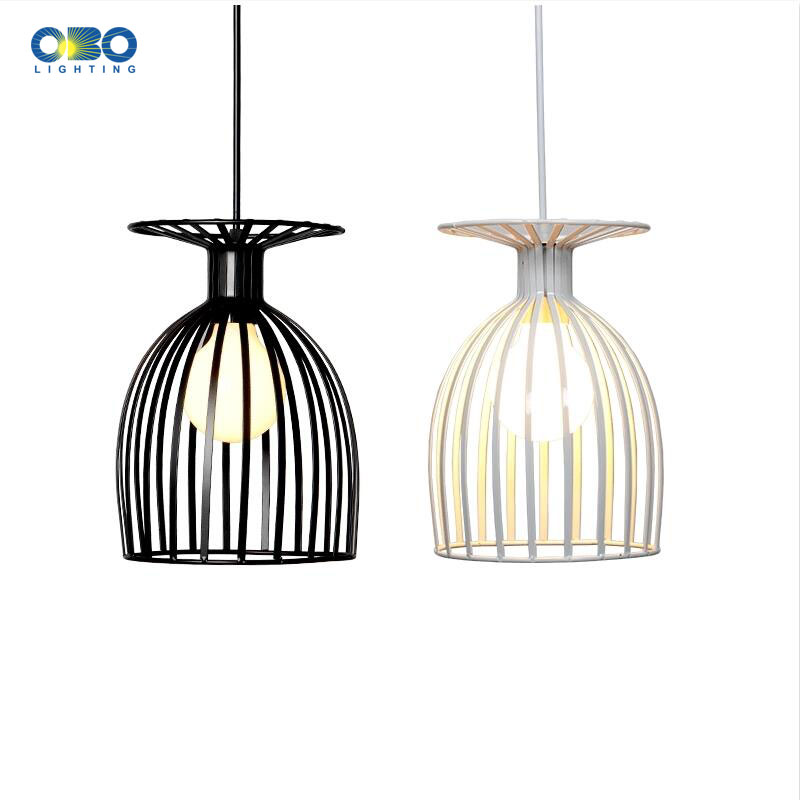 Nordic Wine Bottle Simple  Pendant Lights Modern Iron Bar Bedroom Black White Art Decoration Lamp
