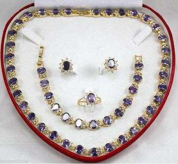 Fine real new Fashion Cubic Zirconia Trendy Jewelry %Purple Crystal new  necklace bracelet earring Ring Jewelry Sets