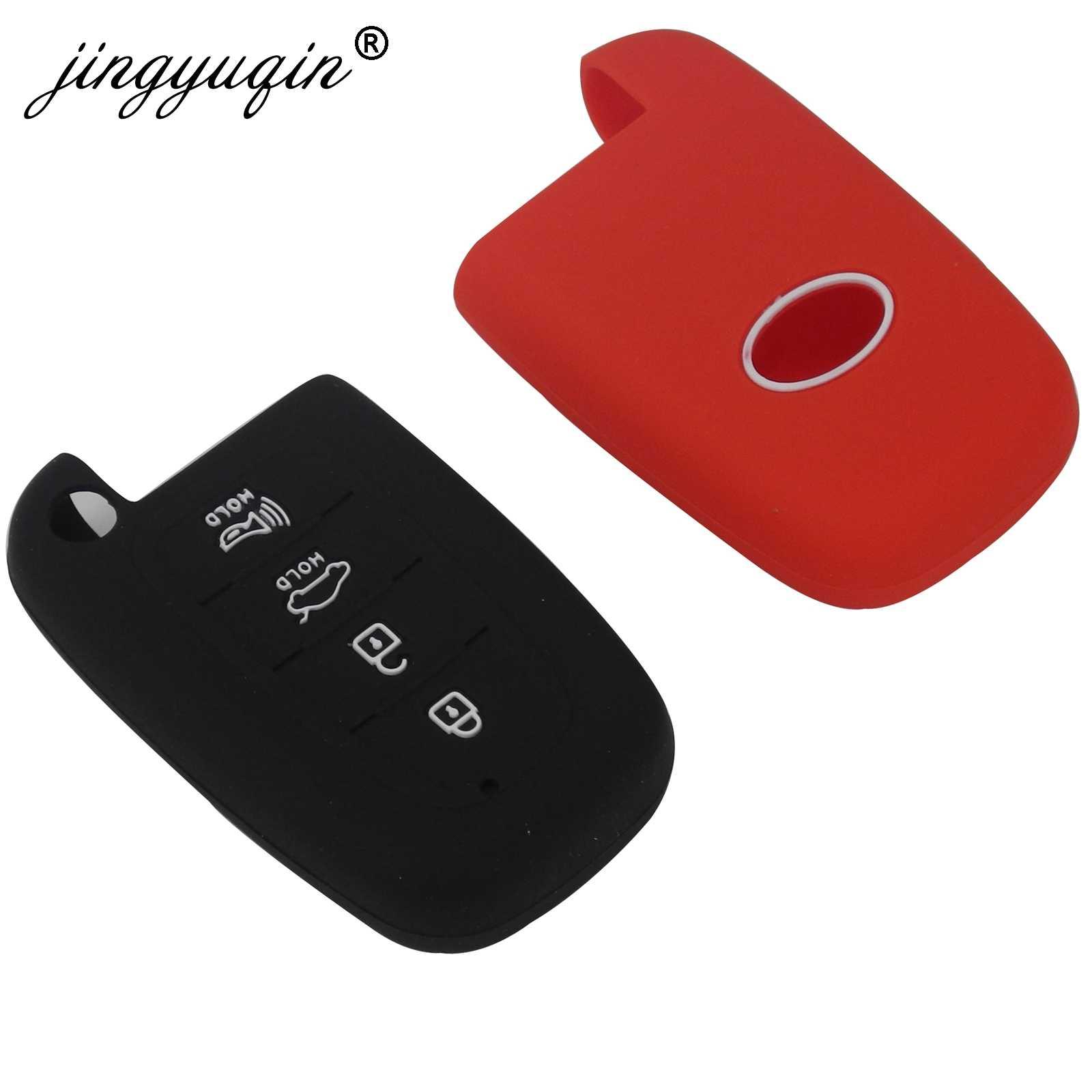 Jingyuqin 4 düğme silikon anahtar kılıfı HYUNDAI Elantra Sonata Veloster Kia Soul Sportage araba uzaktan akıllı Fob kapak