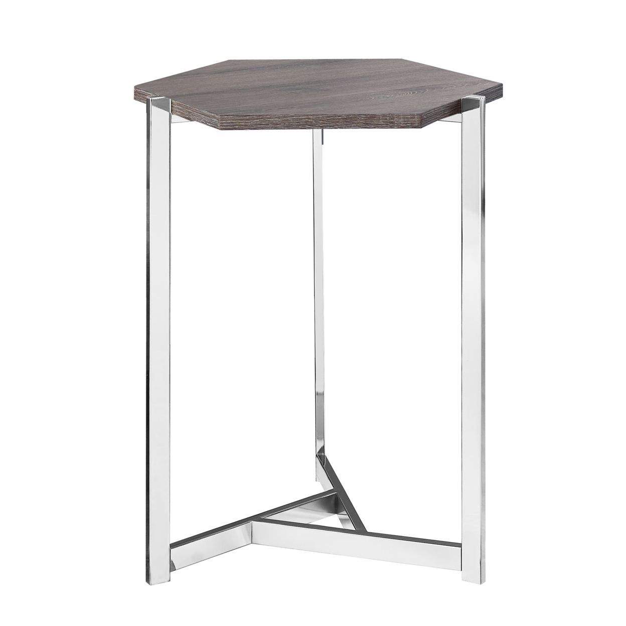 ACCENT TABLE - HEXAGON, DARK TAUPE, CHROME METAL напольная плитка cerdomus chrome kirman taupe rett 60x60