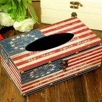 Retro American Flag Modello Tissue Box di Cuoio Auto A Casa tovagliolo di Carta Contenitore Sveglio Cassa Del Tovagliolo di Carta Del Sacchetto Casa Decor