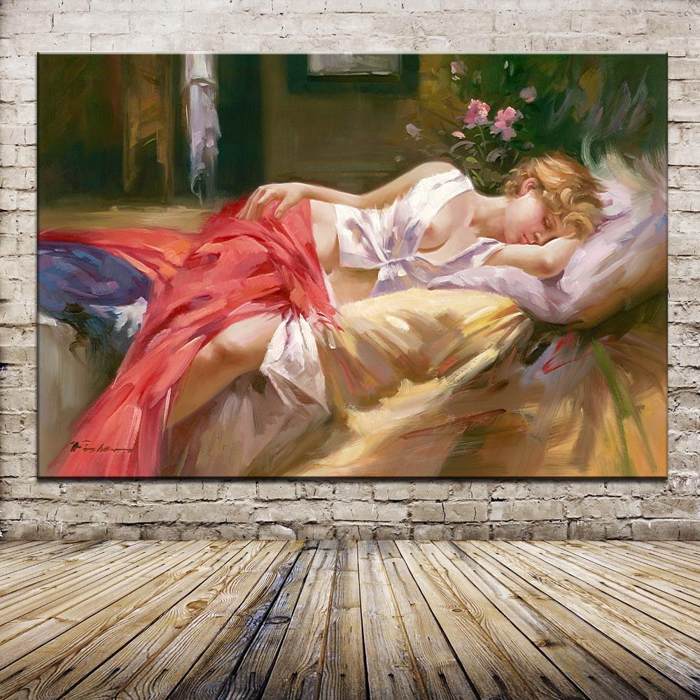 Спящая Красивая телесная девушка, Европейский Портрет, Масляные картины, напечатанные картины на хлопке для спальни, гостиной, настенное художественное украшение для дома|prints pictures|oil paintingportrait oil painting | АлиЭкспресс
