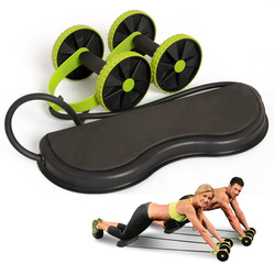 Fitness double wheels ab roller abdominal trainer with resistance band pull rope waist wheel slimming exerciser.jpg 250x250