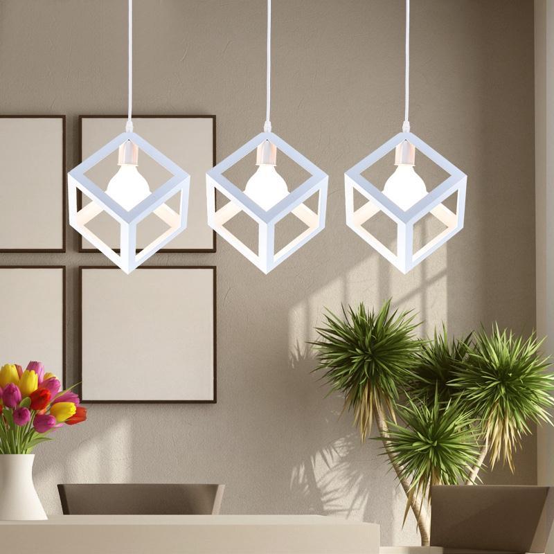 آویز Light Square Lampshade E27 لامپ یکپارچهسازی با سیستمعامل سقفی سقف نور لامپ محافظ سیم قفس لامپ پوشش لامپ سایه لامپ لوستر