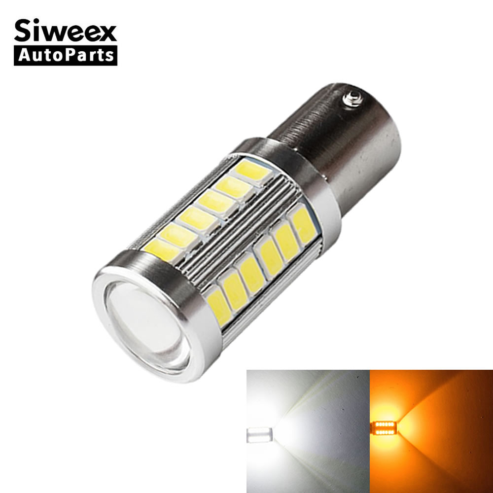 1 Pcs BAU15S PY21W Yellow Car LED Bulbs 33 5730 SMD Side Marker Reverse Light Dome Brake Tail Lamp White Yellow For DC 12V