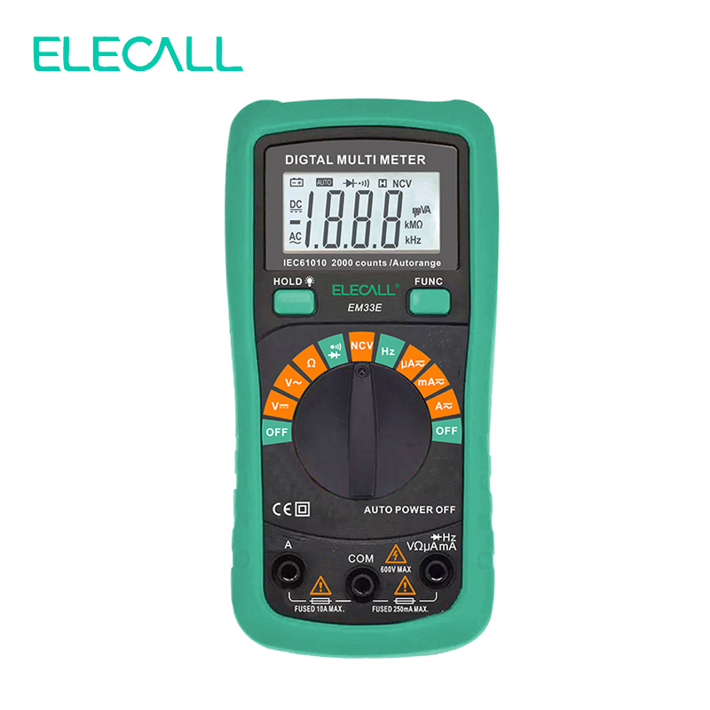 ELECALL Digital Multimeter EM33E Auto Range Protection AC DC Ammeter Voltmeter Ohm Frequency Electrical Tester Diode Detector  vc201vc202vc203 pocket digital multimeter full protection of digital multimeter
