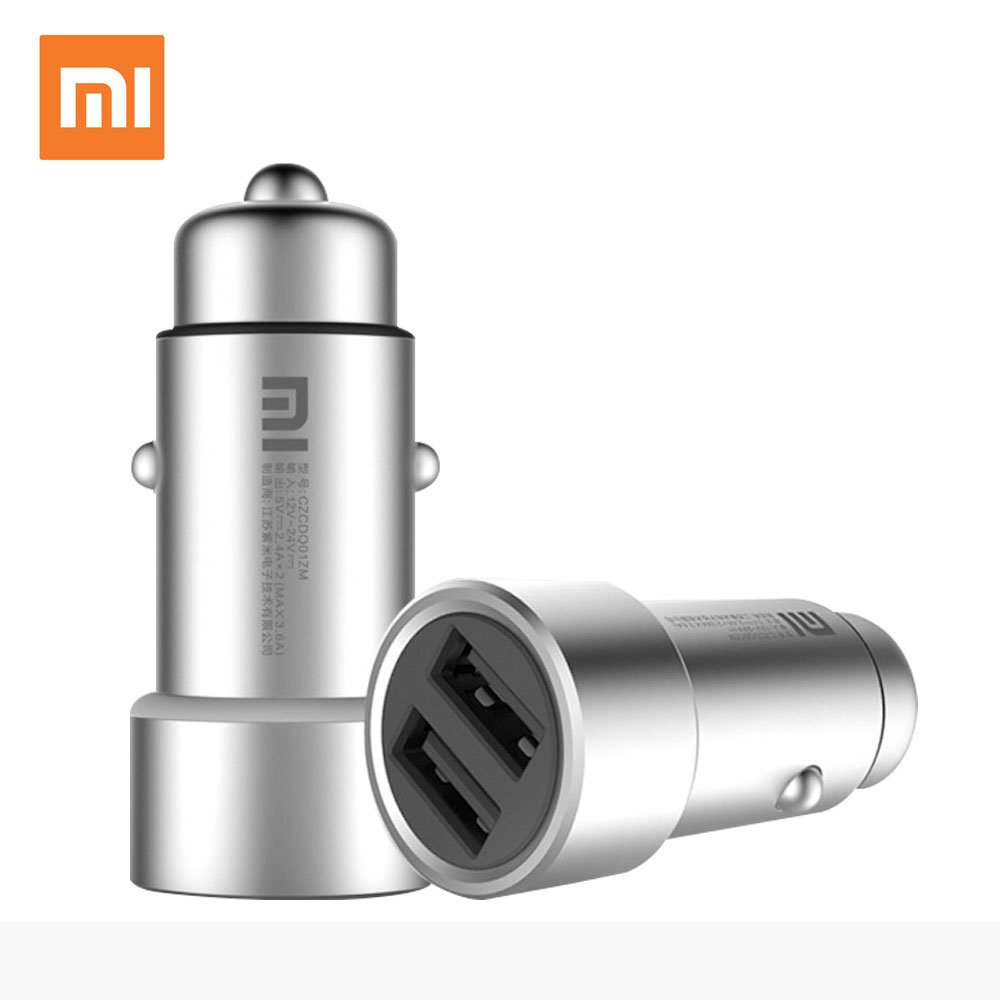 100% Original Xiaomi Mi Car Charger Dual USB Max 5V3.6A Metal Fast Charging Universal Car Charger Competiable With Most Phones