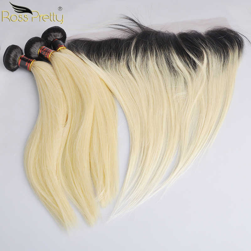 Ross Pretty Remy Straight Brazilian Hair Bundles With Frontal Ombre Color 1b 613 Lace Front With hair weave 3bundles