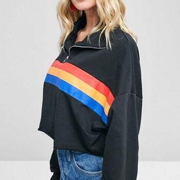 2018 Autumn Winter Hoodies Women's Loose Crop Top Sweatshirt Ladies Long Sleeves Stripes Printed Pullover Jumper Sweatshirts