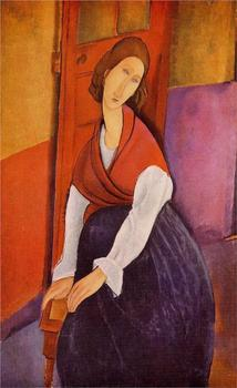 Jeanne Hebuterne in Red Shawl Amedeo Modigliani oil painting for sale online High quality Portrait painting woman Hand painted image