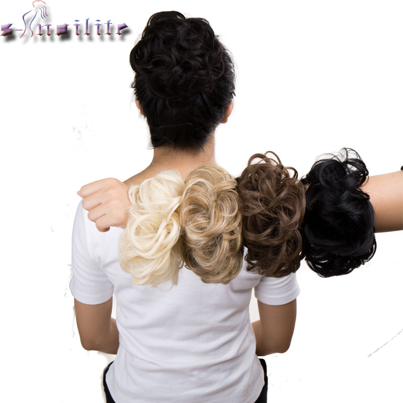 S-noilite Synthetic Hair Chignons Elastic Scrunchie Extensions Hair Ribbon Ponytail Hair Bundles Updo Hairpieces Hair Buns