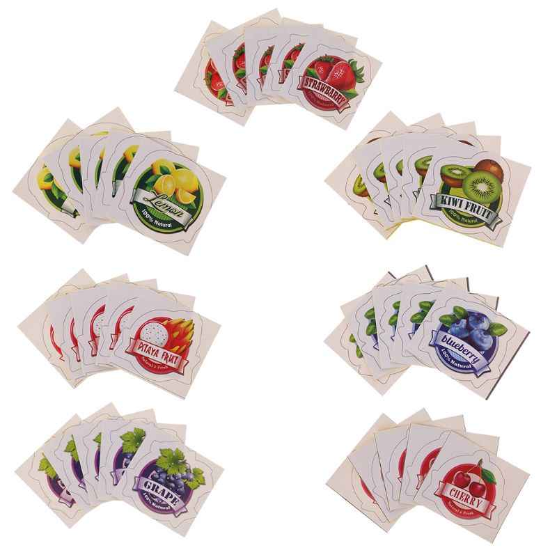 5Pcs Sticker Labels Fruit Pattern DIY Scrapbook Decoration Paster For Slime Mud Light Clay Ornaments Storage Box Container