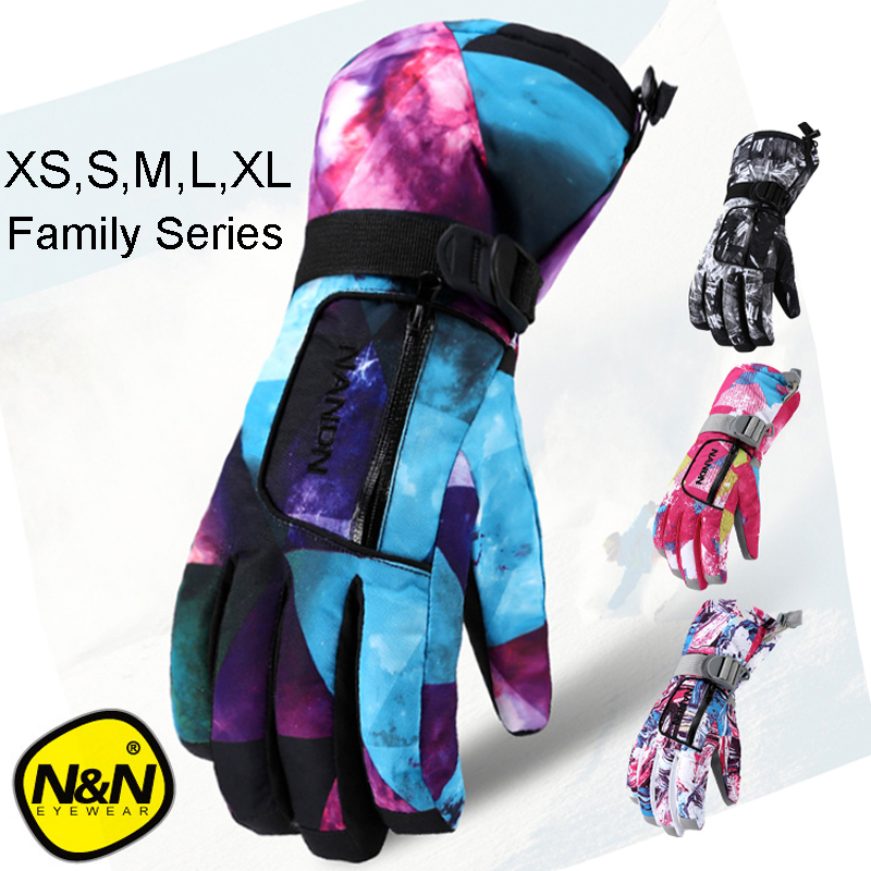NANDN Winter Warm Snowboarding Ski Gloves Men Women Kids Snow Mittens Waterproof Skiing Snowmobile Handschoemen Air+ XS S M L XL