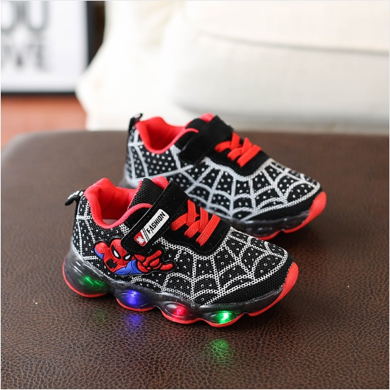 US $5.99 13% OFF|New Autumn Spring Children Shoes Spiderman Night Flash Sports Sneakers Light Shoes for Kids Children's Sneaker Boys boots Girls in