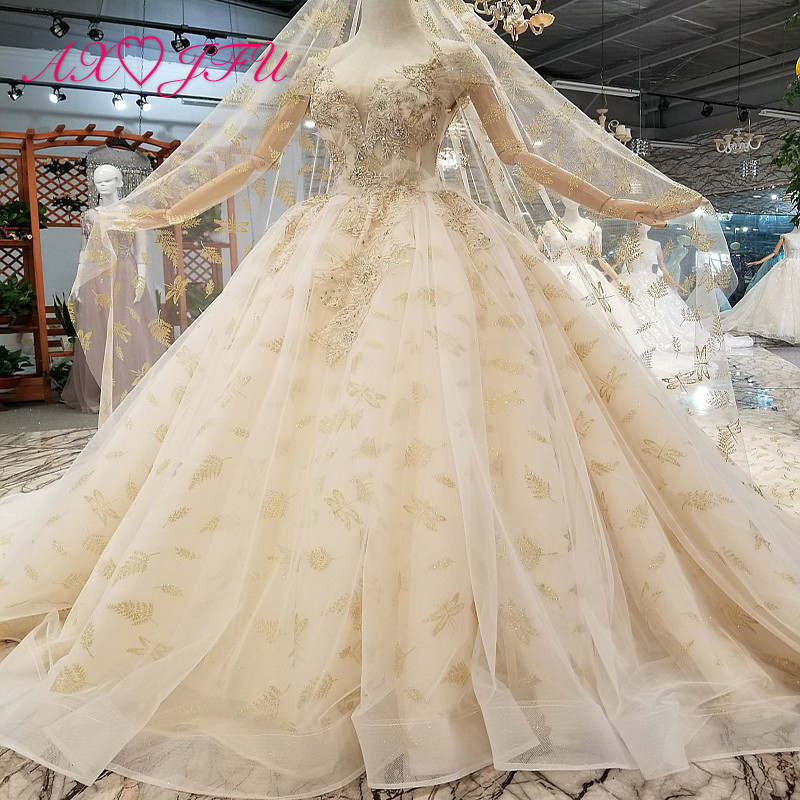AXJFU Princess beading flower lace champagne wedding Dress white lace luxury golden wedding dress 100% Real Picture 871310