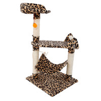 M32 32 Stable Cute Sisal Cat Tree Scratching Post Climbing Sisal Bed Scratcher Tower Leopard Print US Stock
