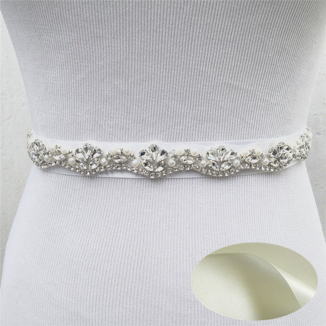 JLZXSY Fashion Wedding Bridal Pearl Applique Rhinestone Crystal Bridal Belt  Bridal Sash Belt with Satin Ribbon f6bb7b08c02a