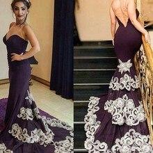 Wunderschönen dunklen lila Meerjungfrau Prom Kleider nach Maß Robe De Soiree Spitze Appliques Abendkleid lange Partei-Kleid