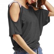 купить Fashion Sequined Tshirt Summer Women Blusas Loose Casual T -Shirts Short Sleeve Solid Off Shoulder Top Shirts Plus Size 5XL дешево