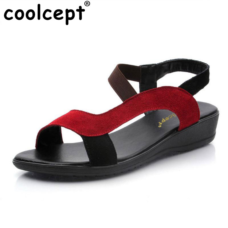 CooLcept free shipping quality flat genuine leather bohemia sandals women sexy fashion lady shoes P11820 hot sale EUR size 34-40 coolcept free shipping high heel shoes platform women sexy bowtie footwear fashion p11575 hot sale eur size 34 43