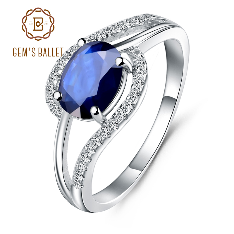 GEM'S BALLET 1.66Ct Oval Natural   Blue Sapphire Gemstone Ring 925 Sterling Silver Classic Wedding Rings For Women Fine Jewelry