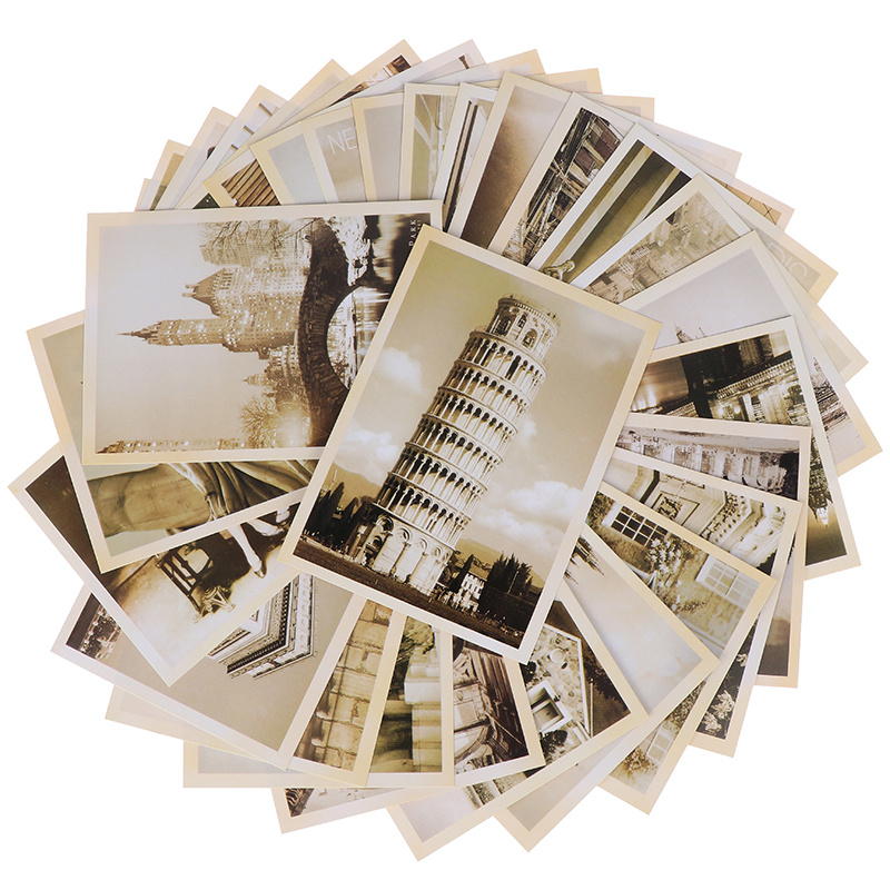 32pcs Classical Famous Europe Building Vintage Style Memory Postcard Set Greeting Cards Gift Cards Christmas Postcards