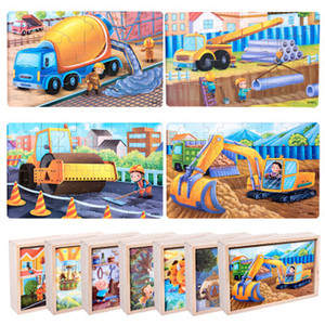 2019  Cartoon 4-in-1 Wooden Jigsaw Puzzles Set Educational Toys Children's Gifts high quality Educational Toys for Kids Gift