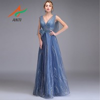 ANTI Royal Blue Evening Dresses 2019 Sexy V neck Backless Robe De Soiree Bow Sashes Sleeveless Formal Party Long Gowns for Woman