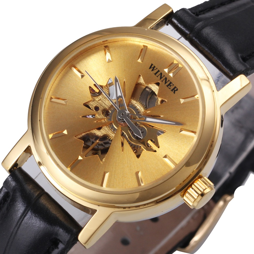 Ladies Fashion Watches 2018 PEMENANG Kulit Skeleton Jam Tangan untuk Wanita Top Brand Luxury Jam Tangan Mekanik montre femme hadiah