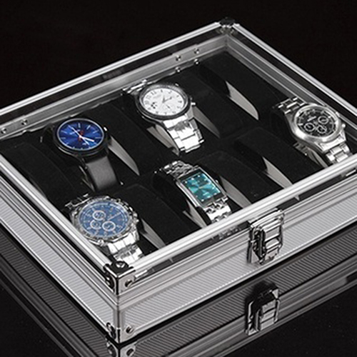 Watch Storage Box Aluminum Alloy Case Useful 6/12 Grid SlotsJewelry Watches Aluminium Alloy Display Storage Box Case Watch