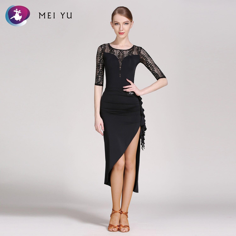 Mei Yu Gb059 En Gb060 Latin Dance Top En Rok Past Ballroom Kostuum Turnpakje Vrouwen Lady Adult Dancewear Avond Party Jurk