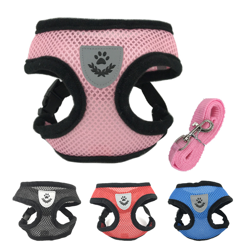 Breathable Mesh Small Dog Pet Harness And Leash Set Puppy Cat Vest Harness Collar For Chihuahua Pug Bulldog Cat Arnes Perro