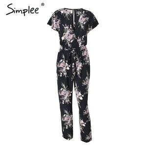 Image 5 - Simplee Vintage floral print boho jumpsuit romper V neck short sleeve casual jumpsuit Long sash summer jumpsuit women overalls