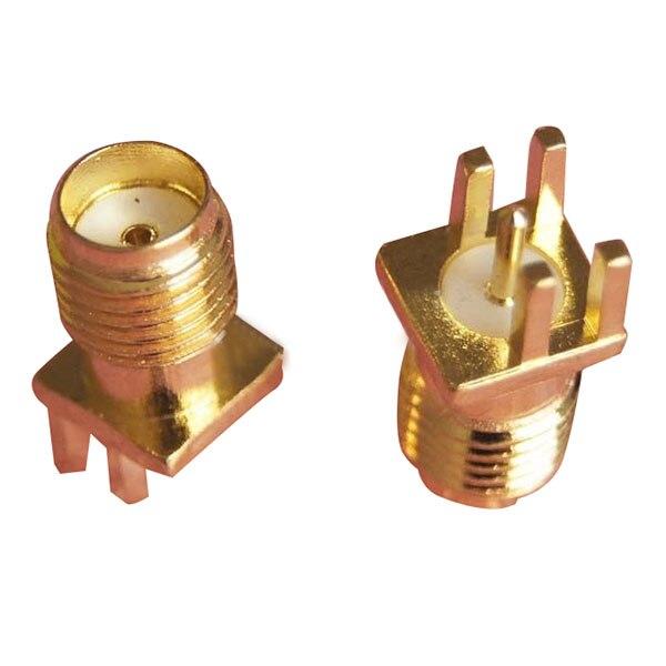 50x Verbinder Sma-buchse solder rand 1,6mm PCB clip montieren gerade 5,08mm Gold