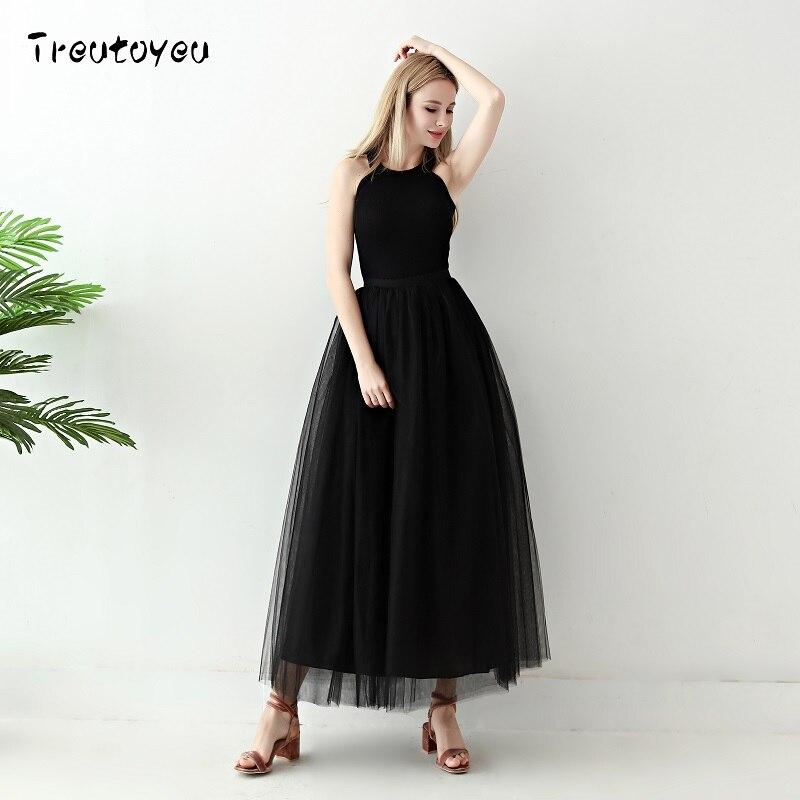 5 camadas longo tutu saias 2018 moda verão das mulheres princesa estilo de fadas voile tule saia bouffant inchado moda saia