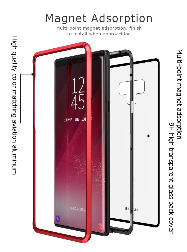 LUPHIE Magnetic Case For Samsung Galaxy Note 9 Clear Glass Magnet Case (3)