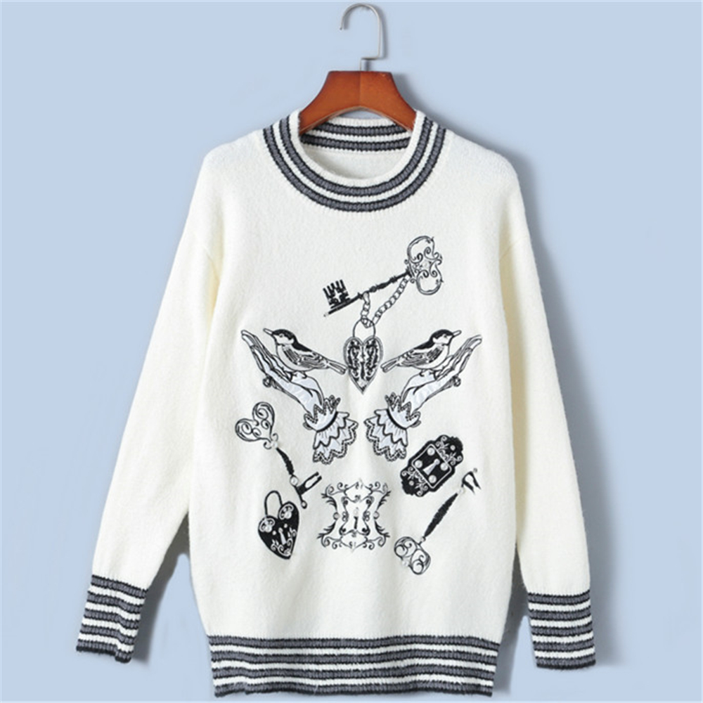 Tunjuefs Animal Embroidery Knitted Sweater Women Jumper Beading Vintage Striped Runway Loose Pullovers Tops Luxury Pull Femme
