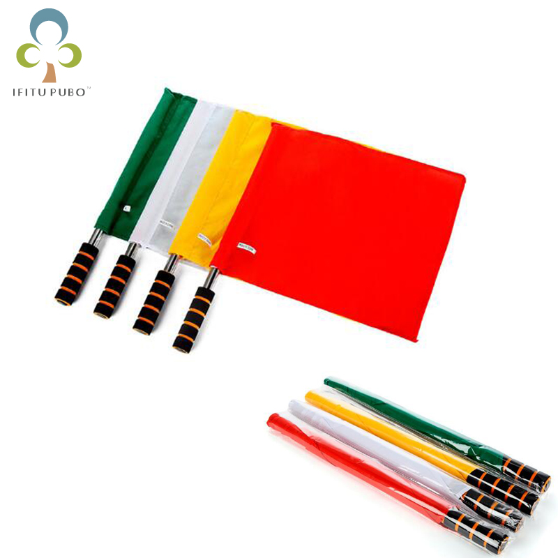 1pc Referee flag signal flag track and field competition signal flag stainless steel grip command flag Soccer Referee Flag LYQ