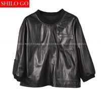 Plus Size Fashion Spring Women High Quality Sheepskin Round Neck Bat Sleeve Square Pocket Short Section