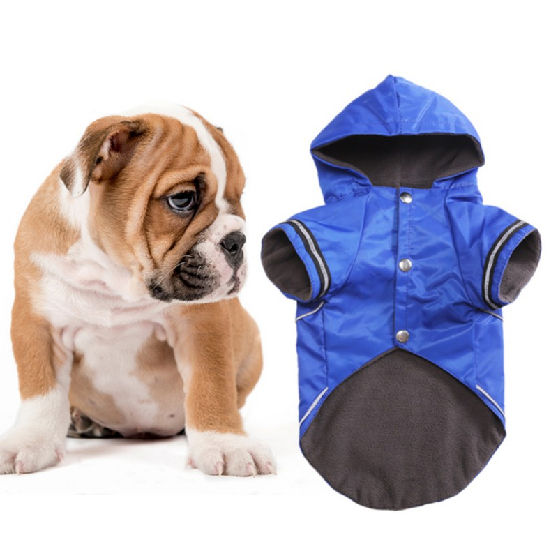 Winter Dogs Clothing Jacket  Warm Puppy Raincoat With Hood Warm Fleece Puppy Rain Clothes Pet Coat Hoodie