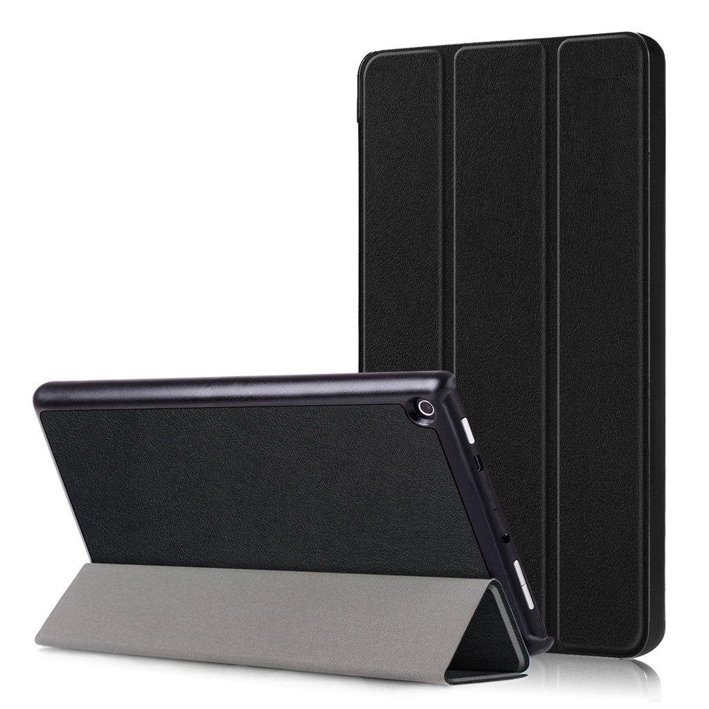 For Amazon Kindle Fire HD8 2018 Sleep Wake Slim Trifold Leather Case Cover PU Magnetic Buckle Holster Bracket