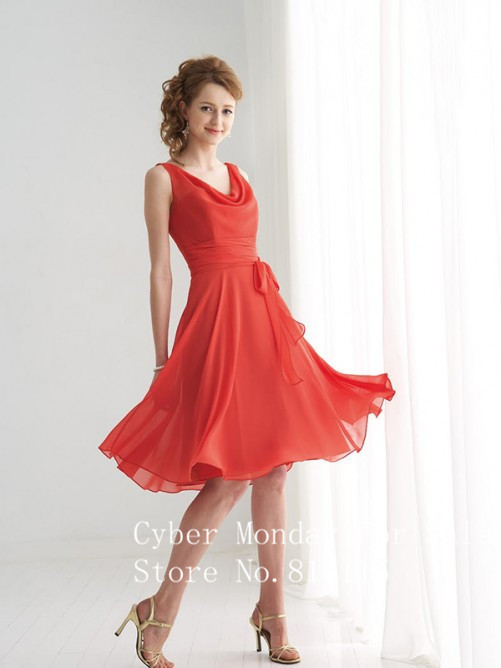 Cheap dresses knee length coral dresses