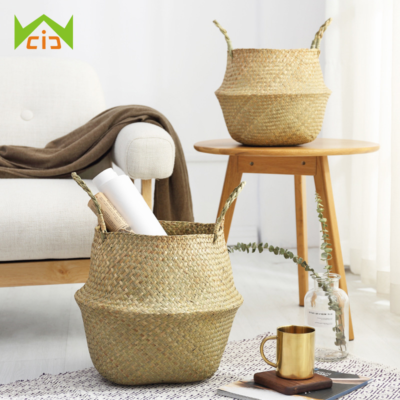 WCIC Seagrass Rattan Wicker Storage Basket For Laundry Cloth Woven Storage Flower Container Home Garden Handle Fruit Flowerpot