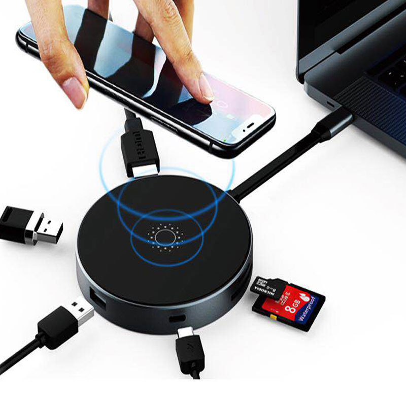 EASYA Thunderbolt 3 USB-C Hub to QI Wireless Charger 5W HDMI Adapter with Type-c PD/Data USB 3.0 SD/TF Slot for Macbook Pro usb type c pd wall charger fast charging power adapter for new macbook pro dell 9350 acer r13 samsung asus hp