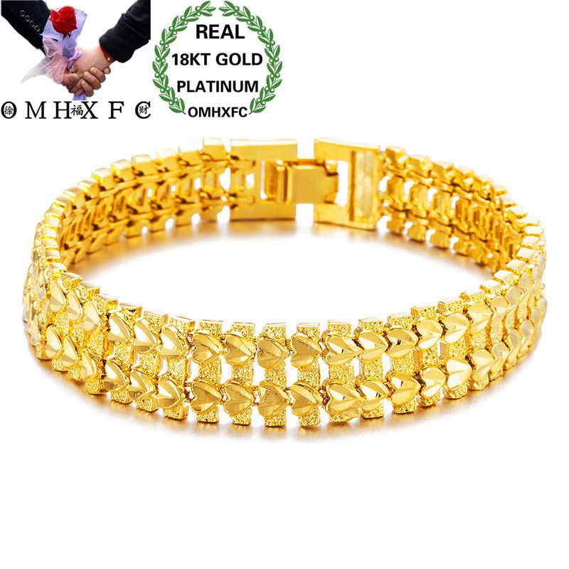 OMHXFC Wholesale European Fashion Man Male Party Birthday Wedding Gift Vintage Wide Watch Chain 18KT Gold Bracelets BE167OMHXFC Wholesale European Fashion Man Male Party Birthday Wedding Gift Vintage Wide Watch Chain 18KT Gold Bracelets BE167