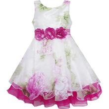 Girls Dress Tulle Bridal Lace with Flower Detailing Wedding 2018 Summer Princess Party Dresses Kids Clothes Size 4-14 Pageant