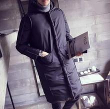 Хлопок Толстый Зимний Снег Теплая Куртка С Капюшоном Пальто высокое качество Западный стиль большие метров в длину пальто хлопка куртка мужчины