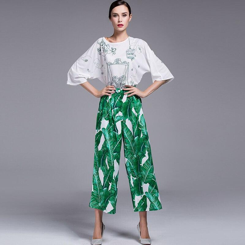 Taille Femmes Haute Impression Pantalon Celebrity De Jambe Printemps Été Piste 2017 Vintage Vert Large Rétro Mode Feuille qTUYx