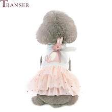 Transer Rabbit Pattern Dog Ball Gown Pleated Dog Dress Sleeveless Multi-Layer Dog Lace Costume Summer Pet Clothes 90423(China)