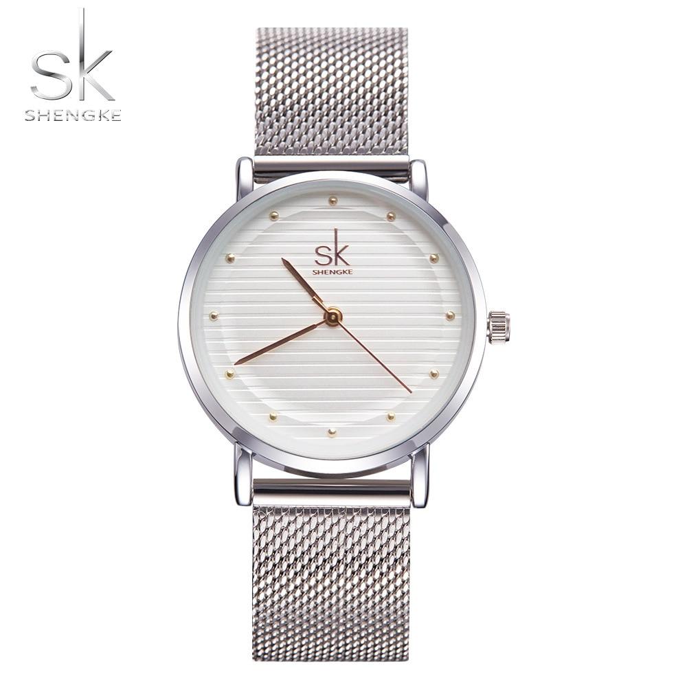 Shengke Marca Relojes De Moda reloj de Las Mujeres Vestido de Las Mujeres Relojes de Cuarzo-Reloj Banda de Acero Inoxidable Relogio Feminino Nueva SK